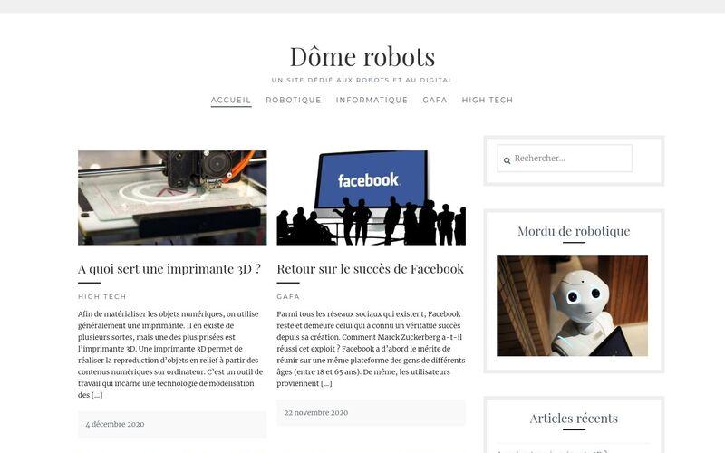 Dôme robots - Un site dédié aux robots et au digital
